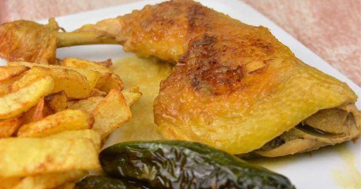 Pollo a la cerveza con salsa de limón