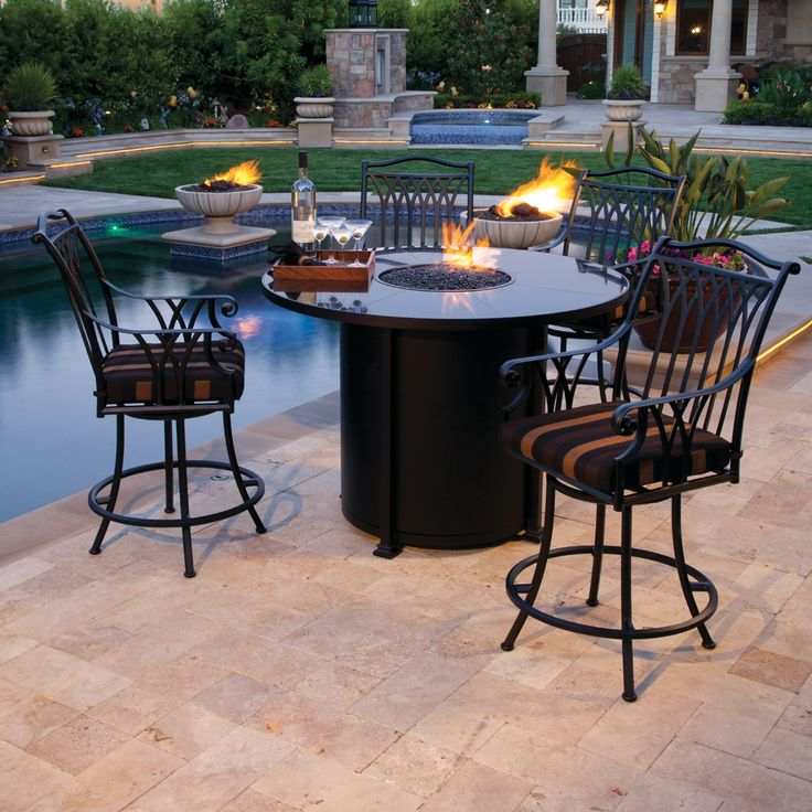 Santorini 54 Inch Round Counter Height Fire Table, By O.W. Lee
