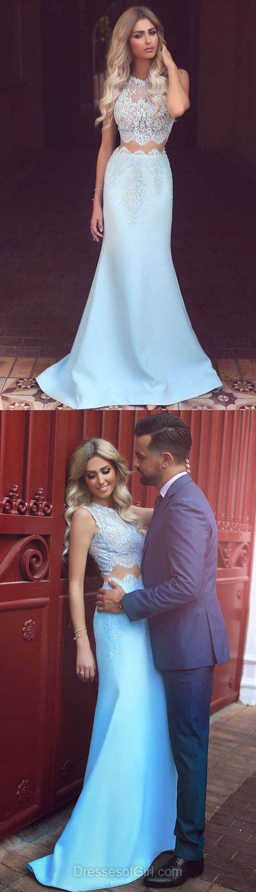 Trumpet/Mermaid Lace Prom Dresses, Scoop Neck Satin Tulle Party Dresses, Sweep Train with Appliques Formal Evening Gowns