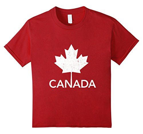 Kids Flag of Canada Vintage T-Shirt Canada Day Tee Shirt 6 Cranberry