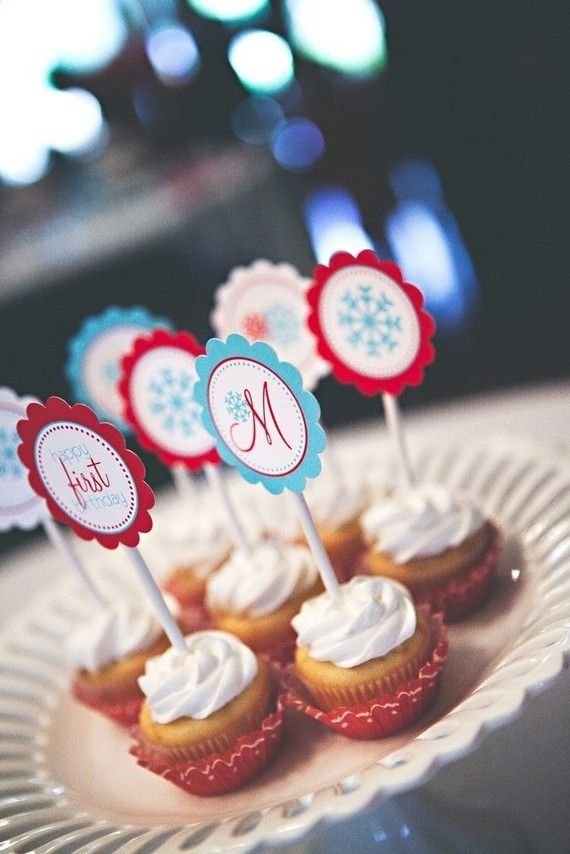 Snowflake Party Printable Cupcake Toppers by The by tomkatstudio, $12.50