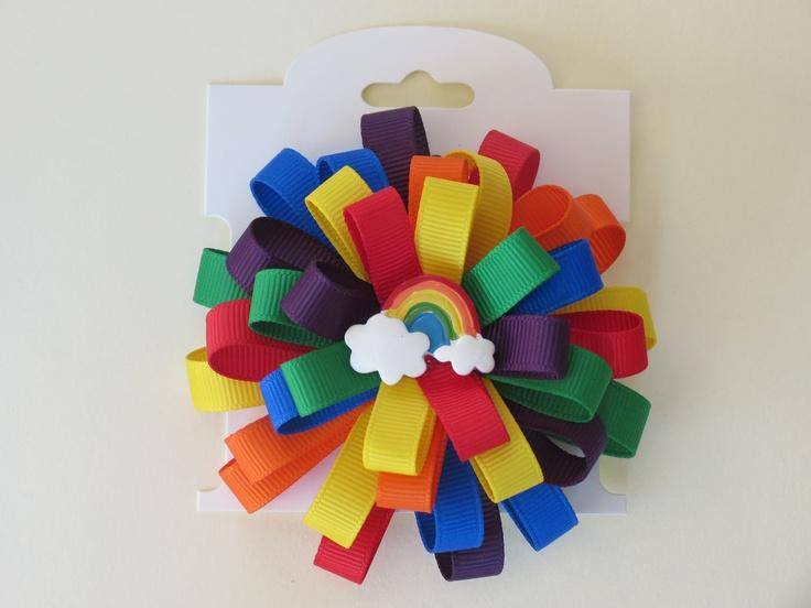 Hair Bow Rainbow by PreciousPrettees on Etsy