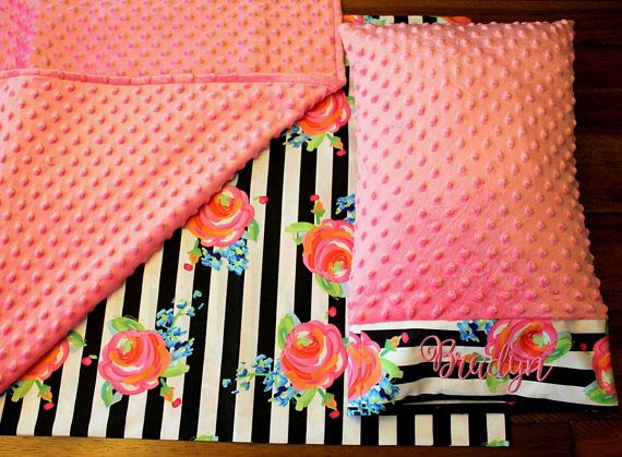 Black & White Striped Floral Nap Mat Cover  Roses  Pink