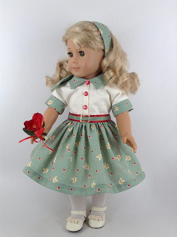1950's Style Green Checked Dress, Petticoat, & Hair Band for American Girl 18-inch Dolls, HF $49