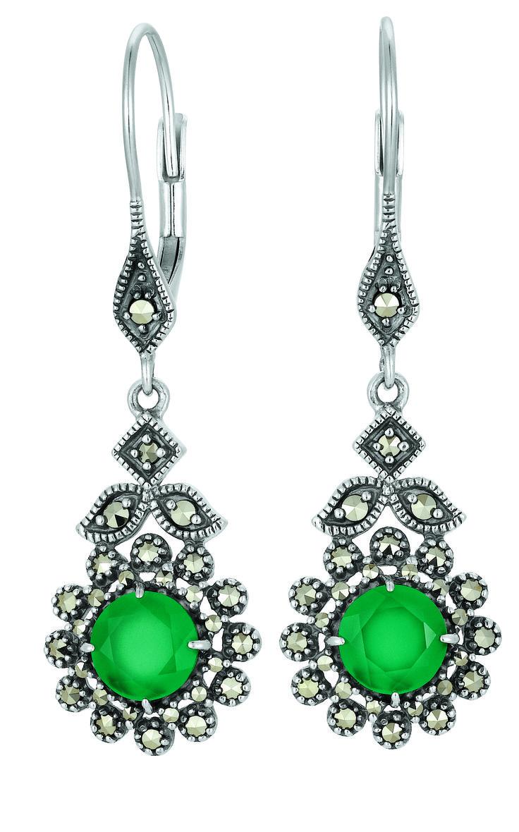 Ohrhänger Silber 925 mit Chalcedonen und Markasiten bei Dorotheum Juwelier #trachtenschmuck #tracht
