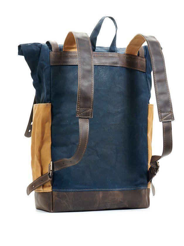 Rucksäcke - Blau und gelb gewachstem canvas leder rucksack - ein Designerstück…