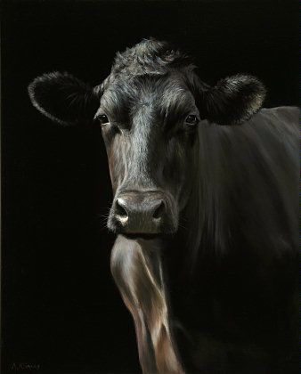 Sold | Mabel the Cow, oil/canvas 20 x 16 inch (50 x 40 cm) © 2011 Klimas