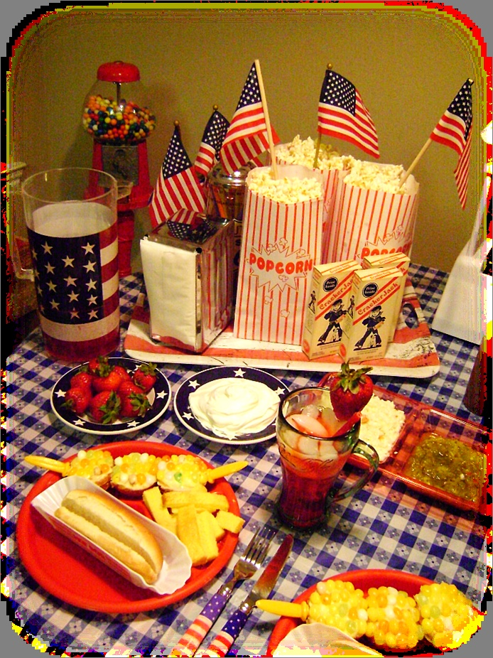 Great 4th of July cookout table!Crackers Barrels, Cookouts Tables, July Cookouts, July Tables, 4Th Of July, July 4Th, Tables Ideas, Vintage Crackers, Crackers Jack