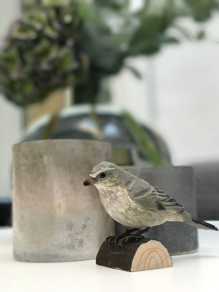 A beautiful hand carved wooden bird (the chiffchaff) by Wildlife Garden.  Their lifelike appearance, intricate details and colouring make them perfect as a fun but beautiful interior decoration.   #interior #decoration #wood #handcarved #carved #birds #bird #interiordesign #wildlifegarden #wildlife