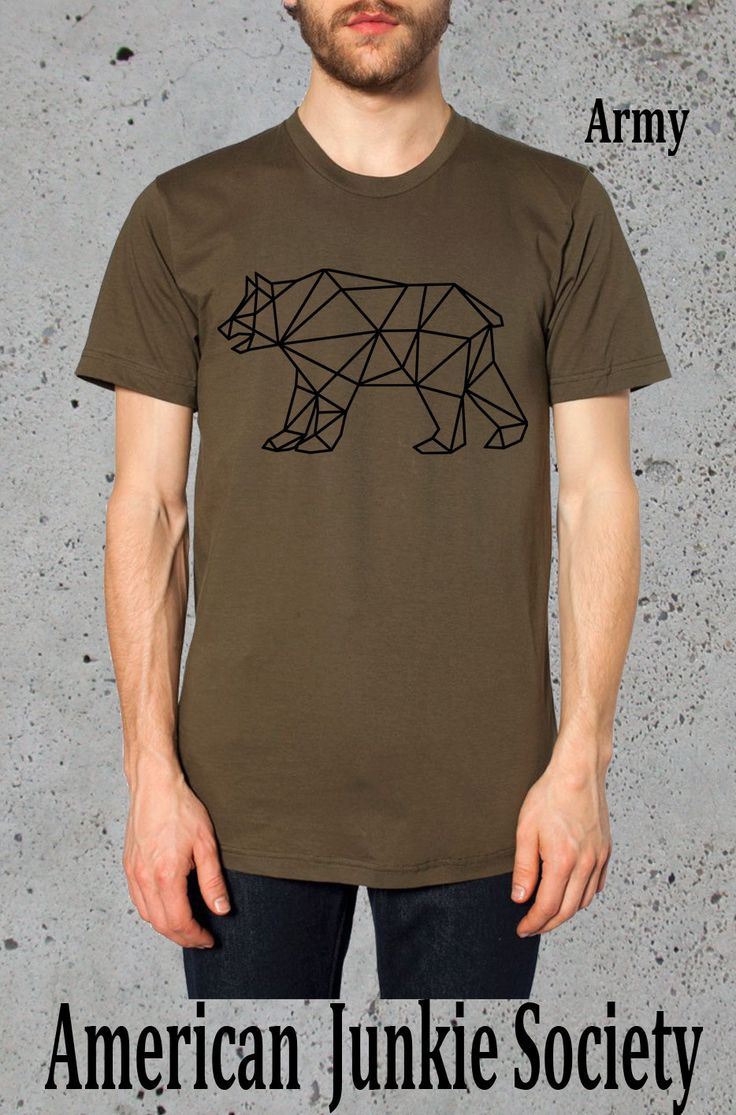 Geometric Bear Shirt Grizzlies Tshirt,American Apparel,Mens Graphic Tee Guys T Shirt,Boyfriend Gift Ideas,Mens Shirts,Hipster Shirt by AmericanJunkieSoc on Etsy