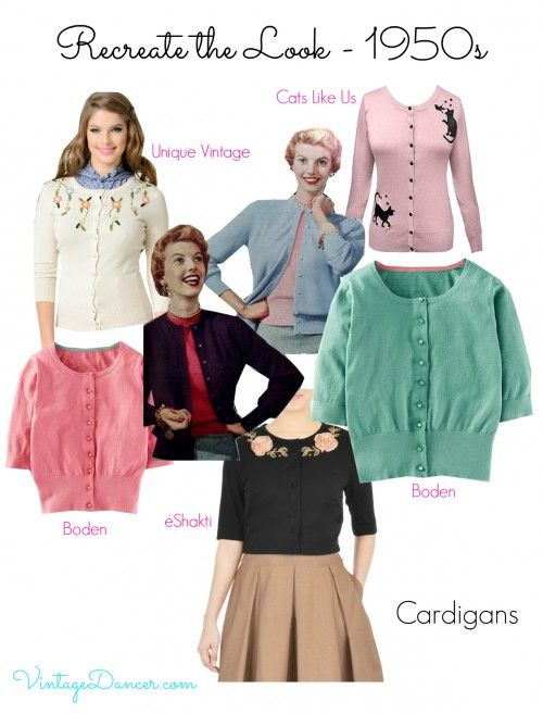 Look out for cropped cardigans sitting just on or below the waistline for a great 1950s style