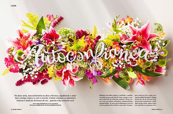 Projeto de lettering para a revista Bons Fluídos, mostra a diversidade de elementos que podem fazer parte do processo criativo. Lembrando que o computador e os softwares são apenas mais uma ferramenta.