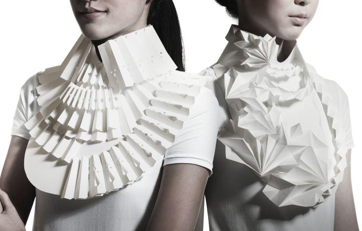 Paper Origami Jewellery - beautifully folded 3D geometric jewelry designs - alternative materials; paper art