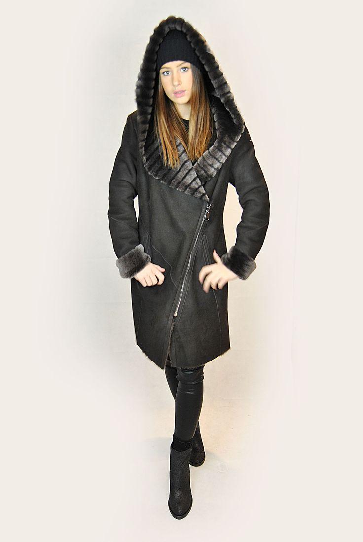 JESSIMARA BROWN HOODED LONG SHEEPSKIN COAT