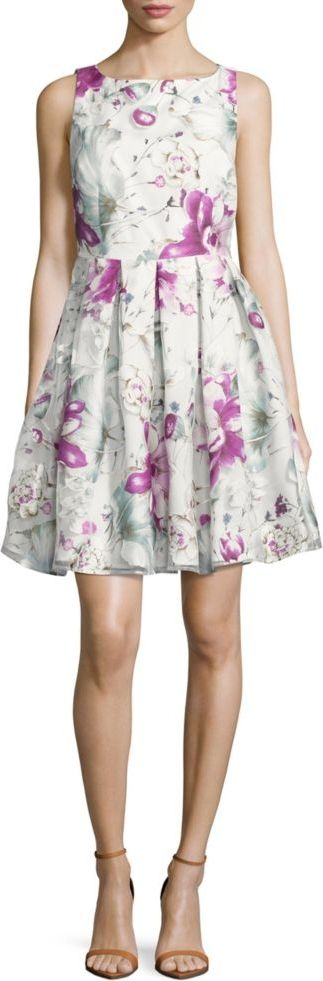 Ivanka Trump Floral Fit-and-Flare Dress (Ivory Petunia)