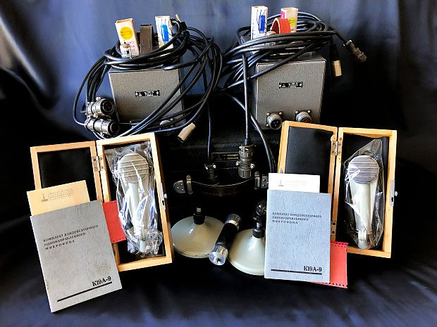 Matched Stereo Pair Of Lomo 19a9 Tube Condenser Mics Complete Nos Dead Mint Vintage Set Soviet Guitar Effects Online Store Museum Reverb Stereo Microphones Tube