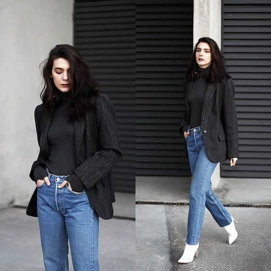 Get this look: http://lb.nu/look/8949178  More looks by CLAUDIA Holynights: http://lb.nu/holynights  Items in this look:  Vintage Blazer, Levi's® 501 Jeans, Shuzee White Boots   #casual #street #vintage #levis #501 #shuzee #whiteboots
