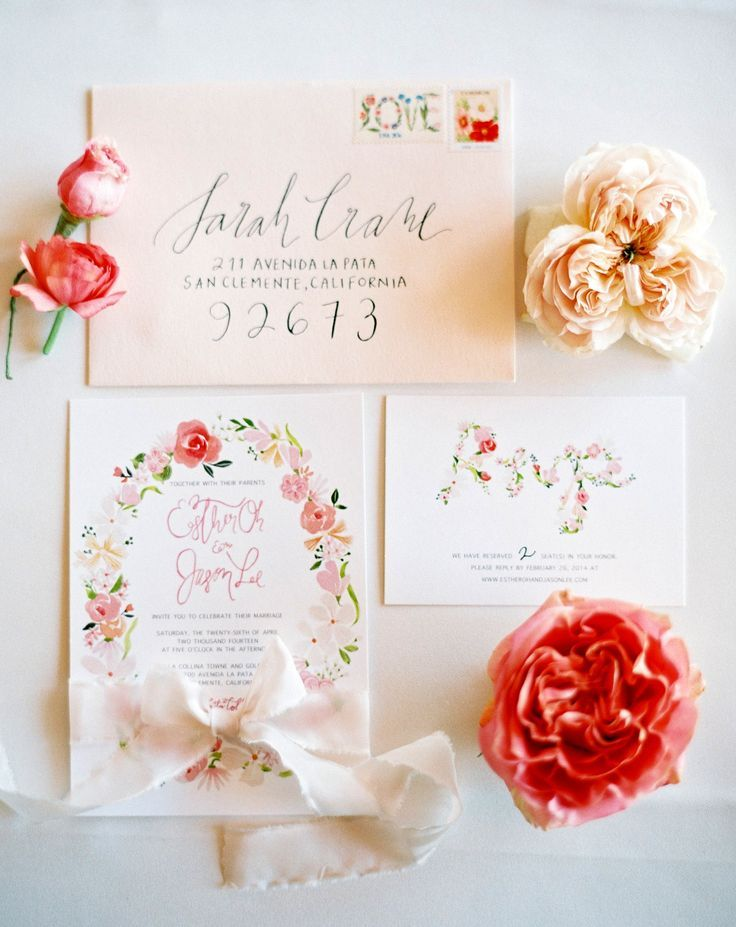 Gorgeous pink calligraphy wedding invite