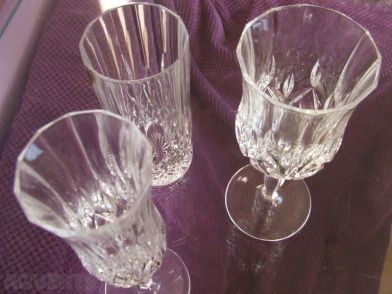 Royal Doulton Crystal Glasses - 4 each large tumbler, wine glass and champagne flute. Perfect cond...