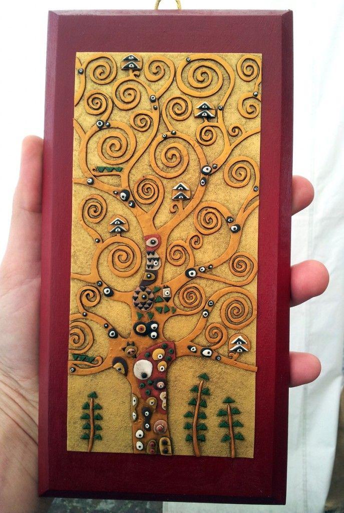 Albero della vita Klimt oro su legno rosso - Le InSolite Cose - www.leinsolitecose.com