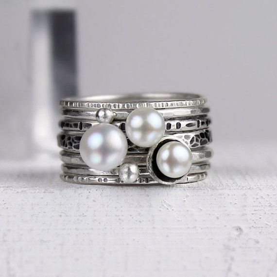 https://www.etsy.com/listing/108534740/silver-and-pearl-stacking-rings-mixed