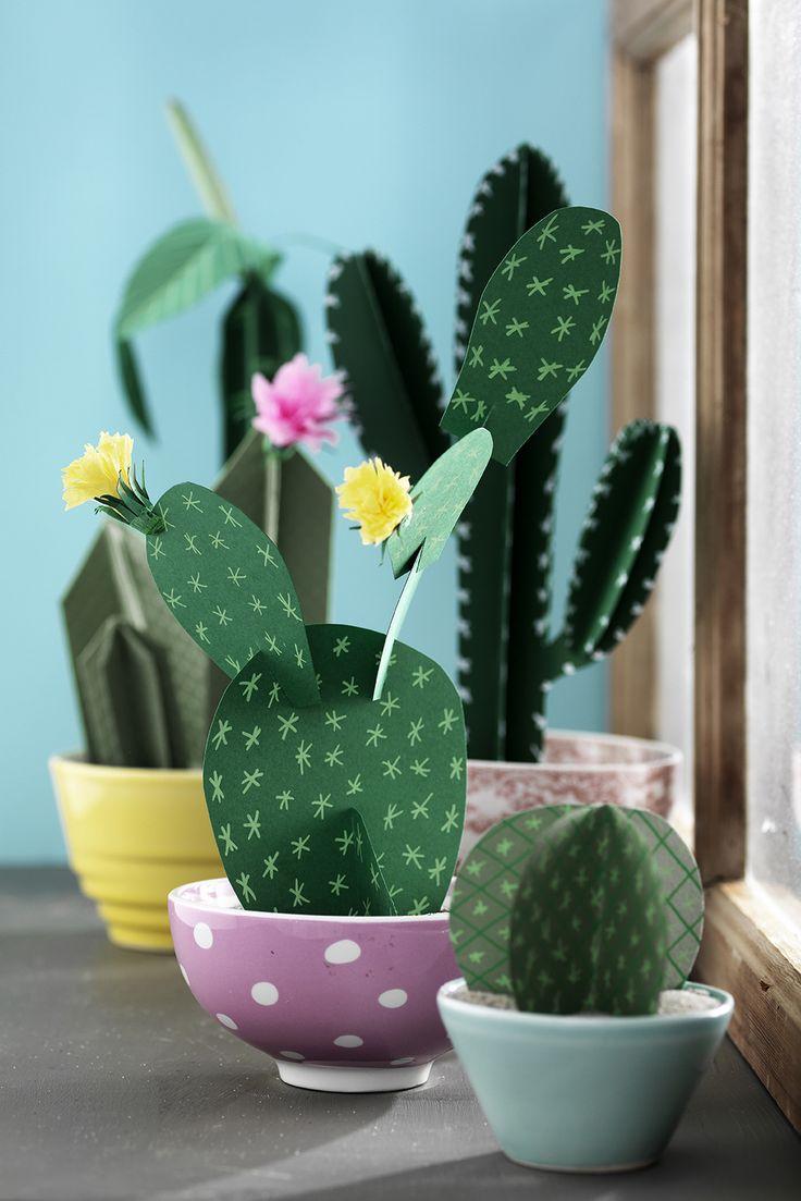 Paper cactus www.pandurohobby.com Paper by Panduro #decoration #DIY #paperfolding #folding #paper #art #panduro #origami #papper #pappersvikning #vika #plant #leaf #växt #cactus #kaktus
