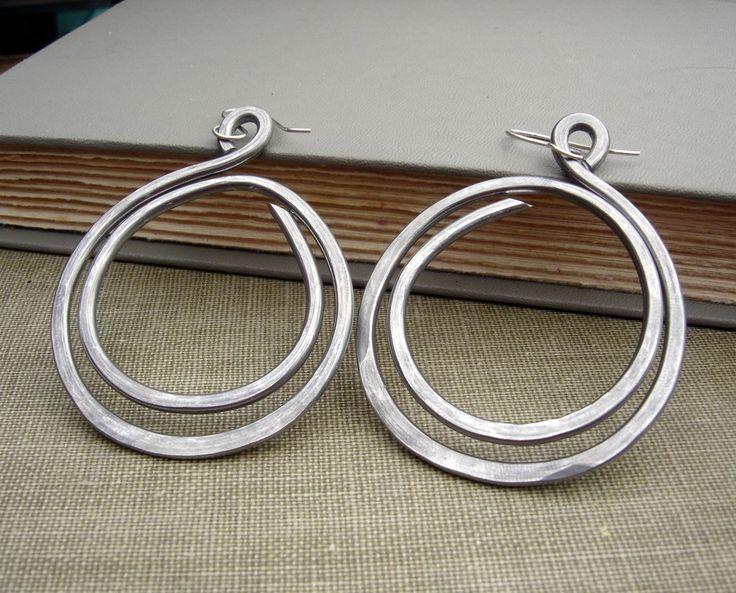 Very Big Hoop Earrings - Double Hoop Loop Light Weight Aluminum Wire Jewelry - Hammered Hoops - Handmade Hoop Earring, Women by nicholasandfelice on Etsy https://www.etsy.com/listing/62197122/very-big-hoop-earrings-double-hoop-loop
