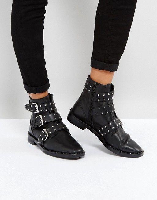 Stradivarius Multi Buckle Ankle Boots