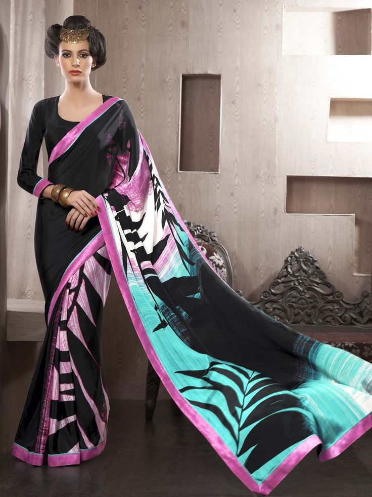 Graceful black color satin saree with abstract print and fancy patch border is absolutely exclusive. Item Code: SDHI1861 http://www.bharatplaza.com/new-arrivals/sarees.html