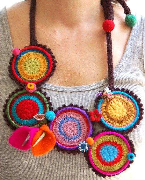 Multicolored necklace with large crocheted rings by StudioKarma