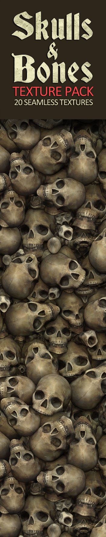 Skulls and Bones Textures. 20 Seamless Textures and Materials. Skulls and Bones combined with mud, sand, water, snow and rocks. 2D 3D game textures for Unreal Engine, Unity 3D, Crytek, Cryengine. PBR sculpted textures.