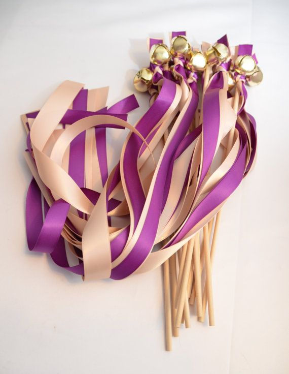 #Wedding Ribbon Bell Wands   ~*~*~  FRAMED SET , meaning 2 different size Ribbons. Please make sure you note the color / size for each one in buyer's notes ***  Updated for ... #weddingwands #ribbonwands #ceremonysendoff #kissingbells #weddingceremony #weddingfavors #favors #ribbonbellwands #bellwands #bridal #blush