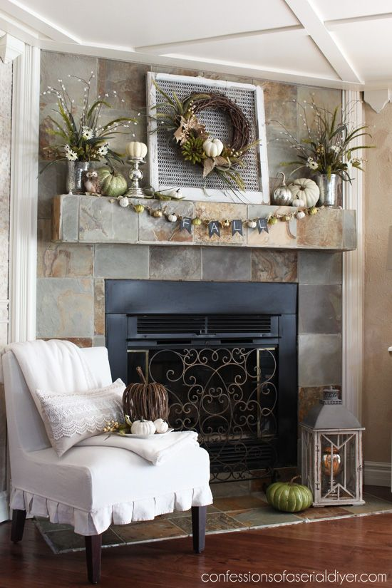 Fall Mantel decorated using a Neutral Palette confessionsofaserialdiyer.com Slate Fireplace surround