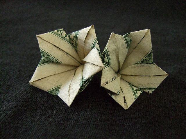 Money Origami Flower | Use money origami (dollar bill origami) to transform your dollar bills ...
