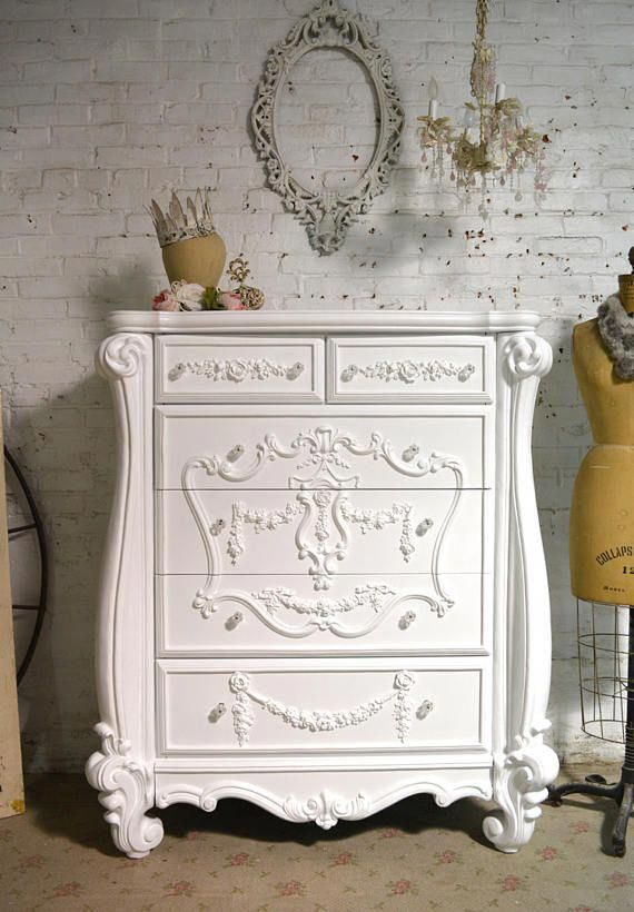 Painted Cottage Chic Shabby Romantic French Dresser Chest