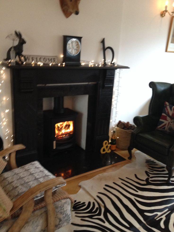 Charnwood C4 wood burner and slate fire surround