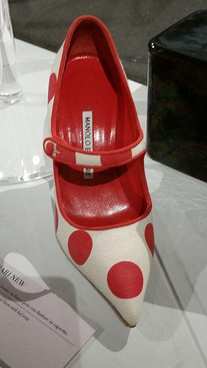 Manolo Blahanik the icon Campari pump as seen at Palazzo Morando exhibit: Manolo Blahnik The art of shoes.