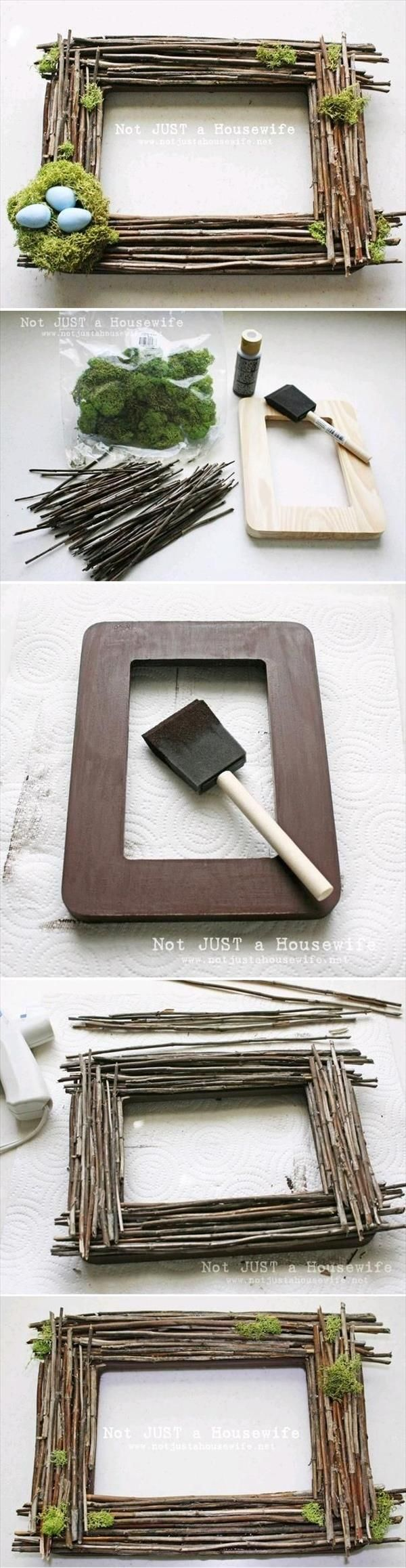 DIY Spring Frame.  PInned by Afloral.com from http://www.newnist.com/10-stunning-diy-home-decor-projects-tutorials/ ~Afloral.com has moss and faux nests for your DIY projects!