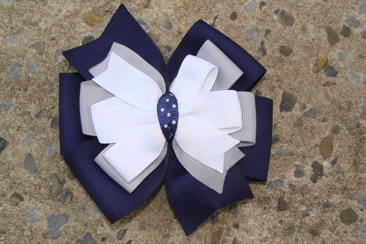 School uniform Hair Bow Navy Hair Bow Navy White and Grey Hair Bow. $5.00, via Etsy.