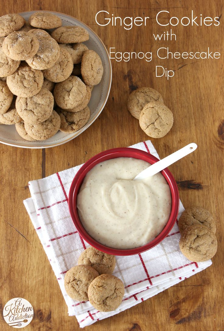 Soft Baked Ginger Cookies with Eggnog Cheesecake Dip from @Jessica l A Kitchen Addiction