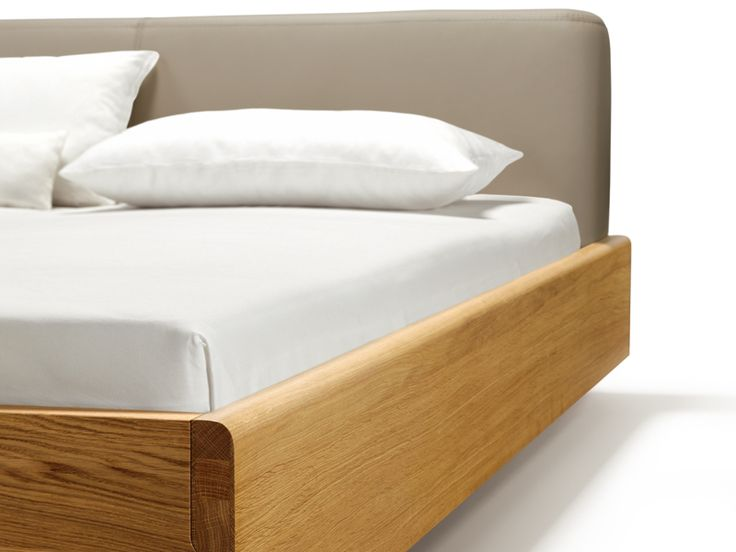 Wooden double bed with upholstered headboard NOX Nox Collection by TEAM 7 Natürlich Wohnen | design Jacob Strobel