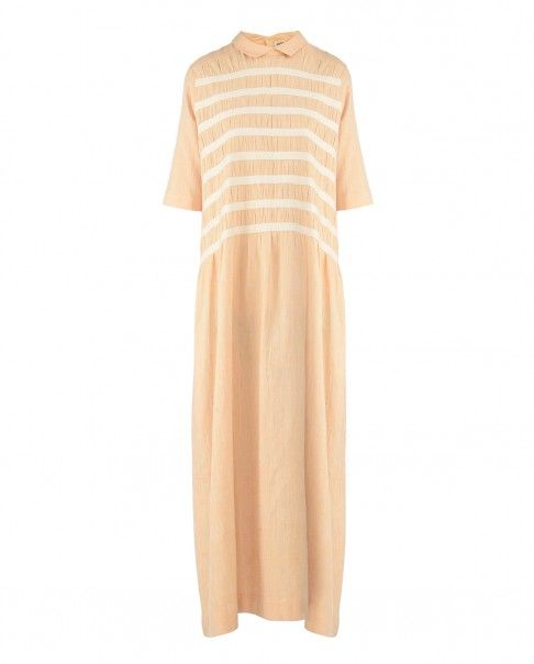 Latte and Ivory Twill Ruche Dress