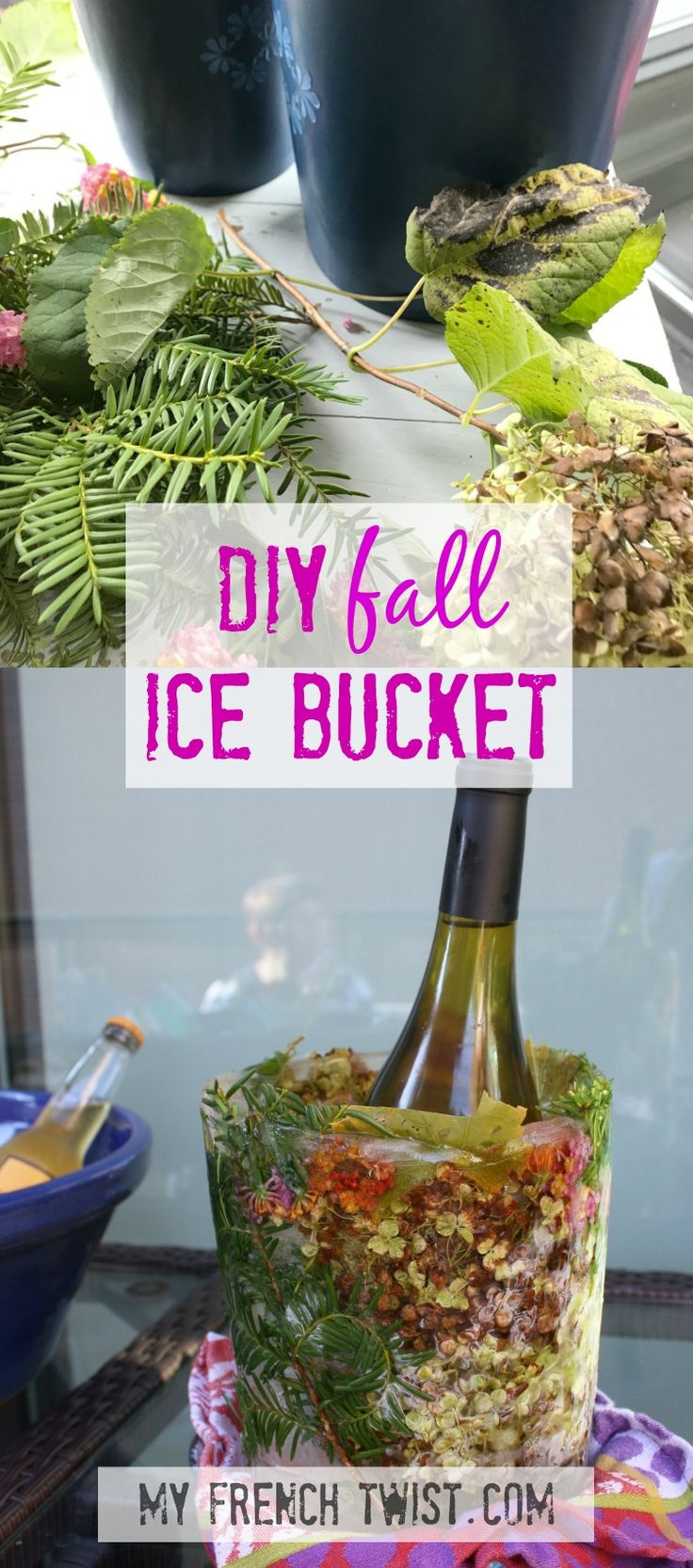 Make your own frozen ice bucket for Fall entertaining! http://www.myfrenchtwist.com/diy-ice-bucket/