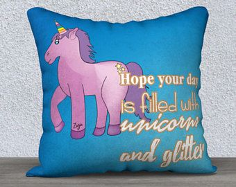 Housse de coussin, Hope your day..., licorne