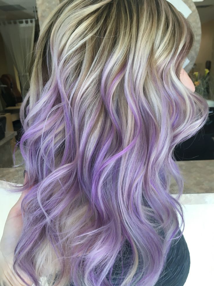 Blonde hair titanium ash blonde pastel light purple lilac hand painted balayage highlights done by IG: hairbynickyz