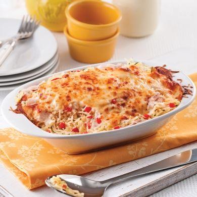 Courge spaghetti gratinée, sauce au chèvre et poulet - Recettes - Cuisine et nutrition - Pratico Pratiques