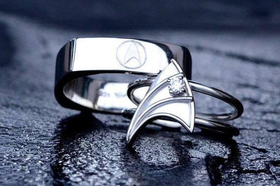 Sterling Silver Wedding Band for Men Star Trek Insignia Inspired Hand-Engraved Customizable Made To Order