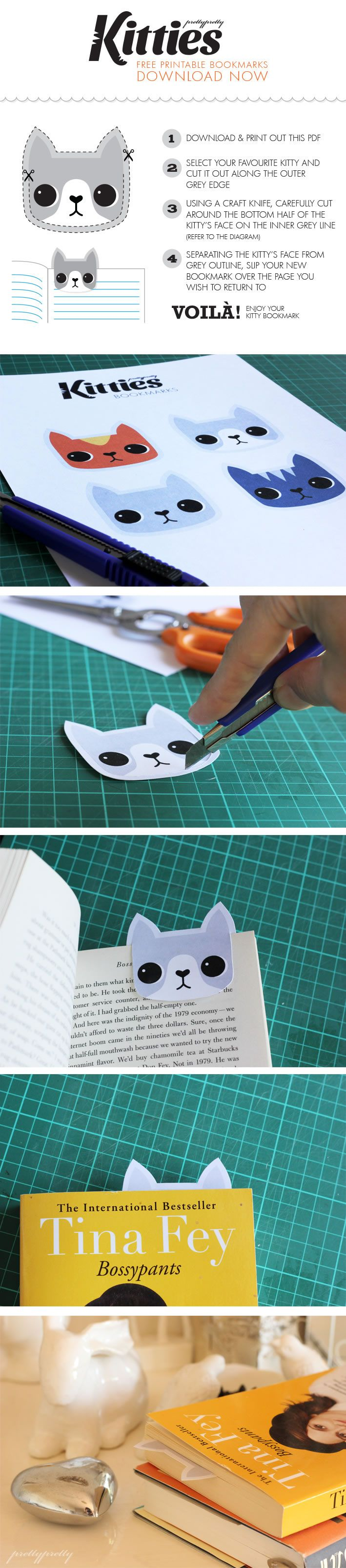 FREE printable kitty cat bookmarks