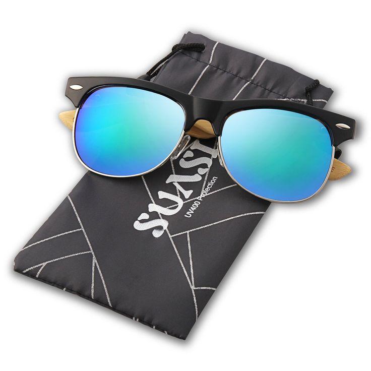 Suasi Full Mirrored Aviator Sunglasses with Half Frame Bamboo Legs for Mens Womens Wooden Sunglasses Zm00140 (blue)