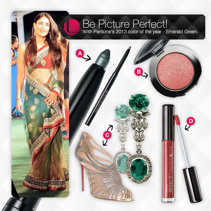 Rock the emerald green look this season with a hint of Lakme Absolute. Keep it minimal with gypsy green Forever Silk eyeliner, a little blush with Baked Blush Night sheen and luscious lips with Lakme Plump & Shine gloss.